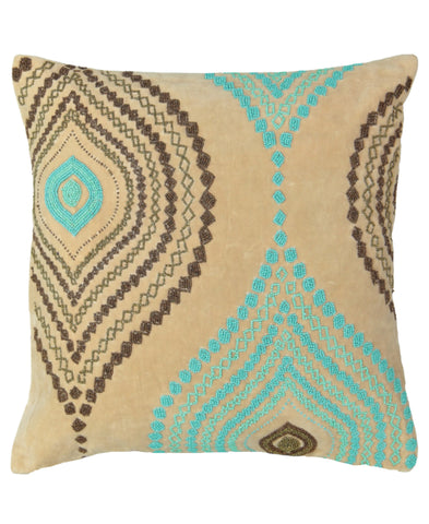 "Aqua and Chocolate Ogee Beads Velvet Decorative Pillow, 18"" X 18"" Mod Lifestyles"