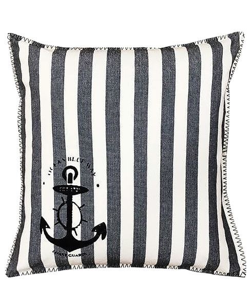 "Cotton Nautical Stripe Anchor Stamped Print Decorative Pillow, 20"" X 20"" Mod Lifestyles"