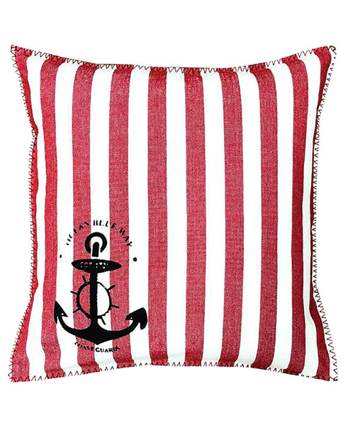 "Cotton Nautical Stripe Anchor Stamped Print Decorative Pillow, 20"" X 20"""