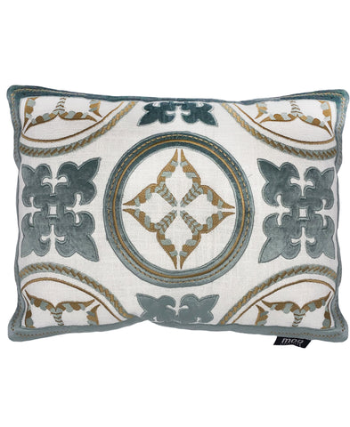 "Sky Grey Cotton Velvet Patches Medallion Decorative Lumbar Pillow, 13"" X 18"""