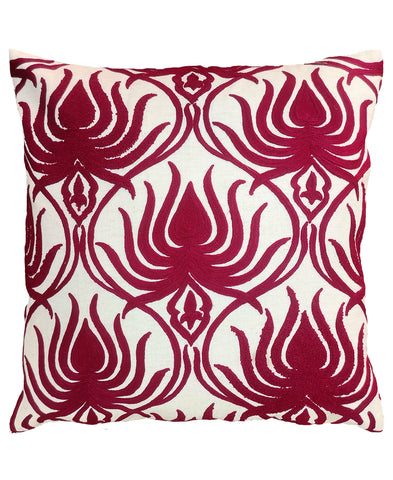 "Flame Crewel Embroidery Decorative Pillow, 20"" X 20"""