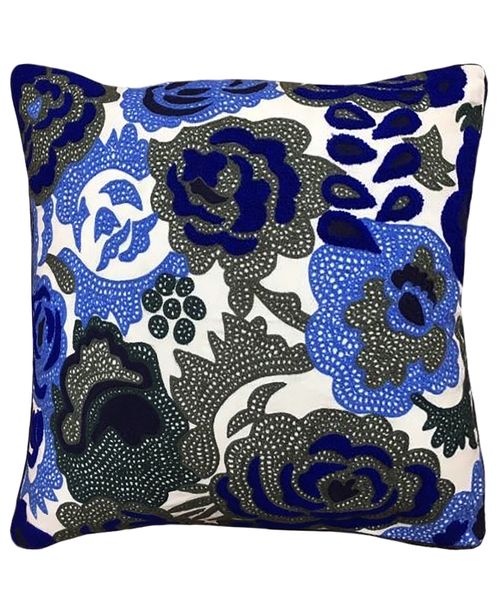 "Blue Rose Embroidery Decorative Pillow, 20"" X 20"""