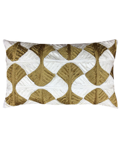 "Linden Leaves Applique Decorative Lumbar Pillow, 12"" X 20"""