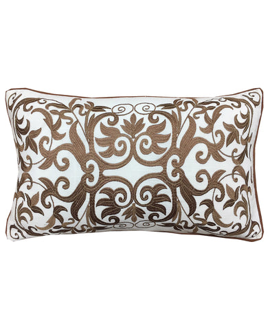 "Gold Allover Scroll Embroidery Decorative Lumbar Pillow, 12"" X 20"""