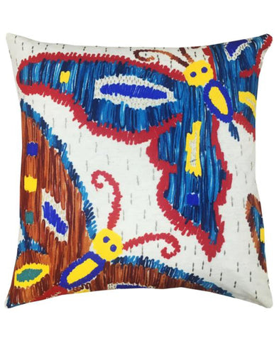 "Multicolor Butterfly Embroidery Decorative Pillow, 20"" X 20"""