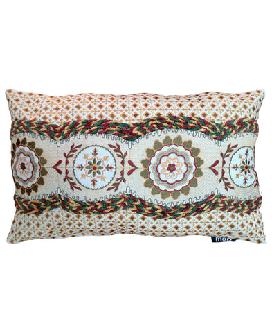 "Medallion Allover Embroidery Decorative Lumbar Pillow, 12"" X 20"""
