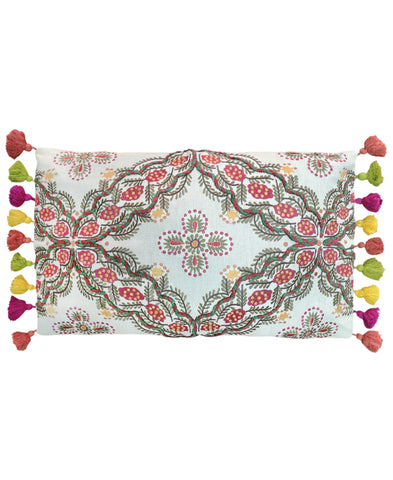 "Leaves Embroidery Decorative Lumbar Pillow, 12"" X 20"""