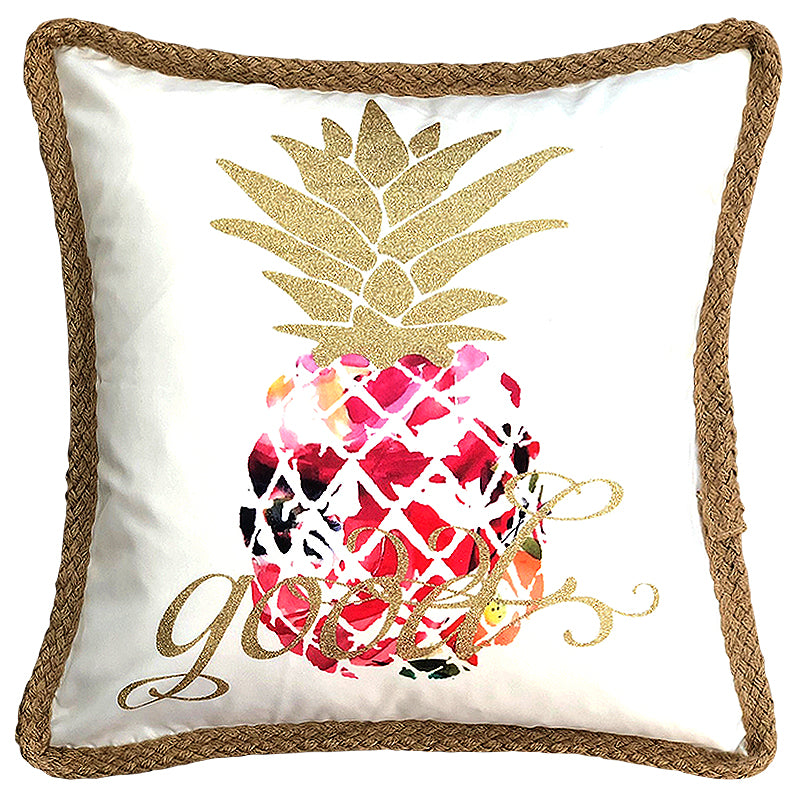 "Hawaiian Printed Pineapple Jute Trim Decorative Pillow, 20"" X 20"" Mod Lifestyles"