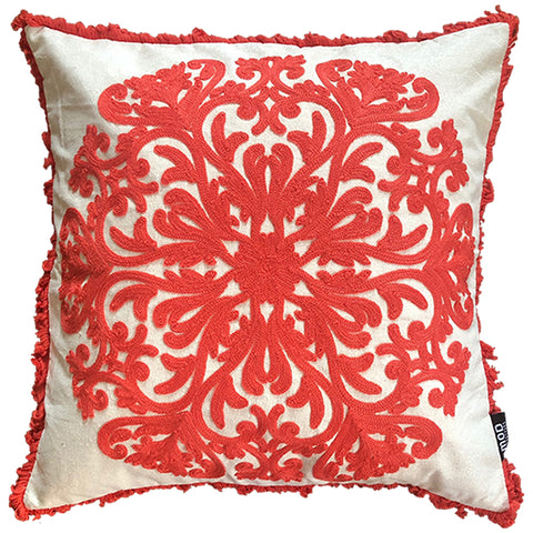 "Scroll Embroidery Fringes Decorative Pillow, 20"" X 20"" Mod Lifestyles"