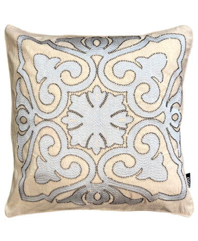 "Damask Embroidery Beads Decorative Pillow, 20"" X 20"""