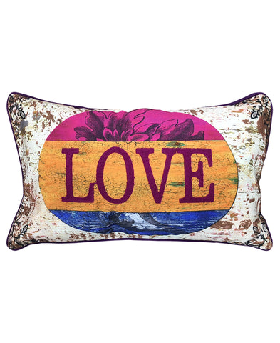 "Love Print Decorative Pillow, 12"" X 20"""