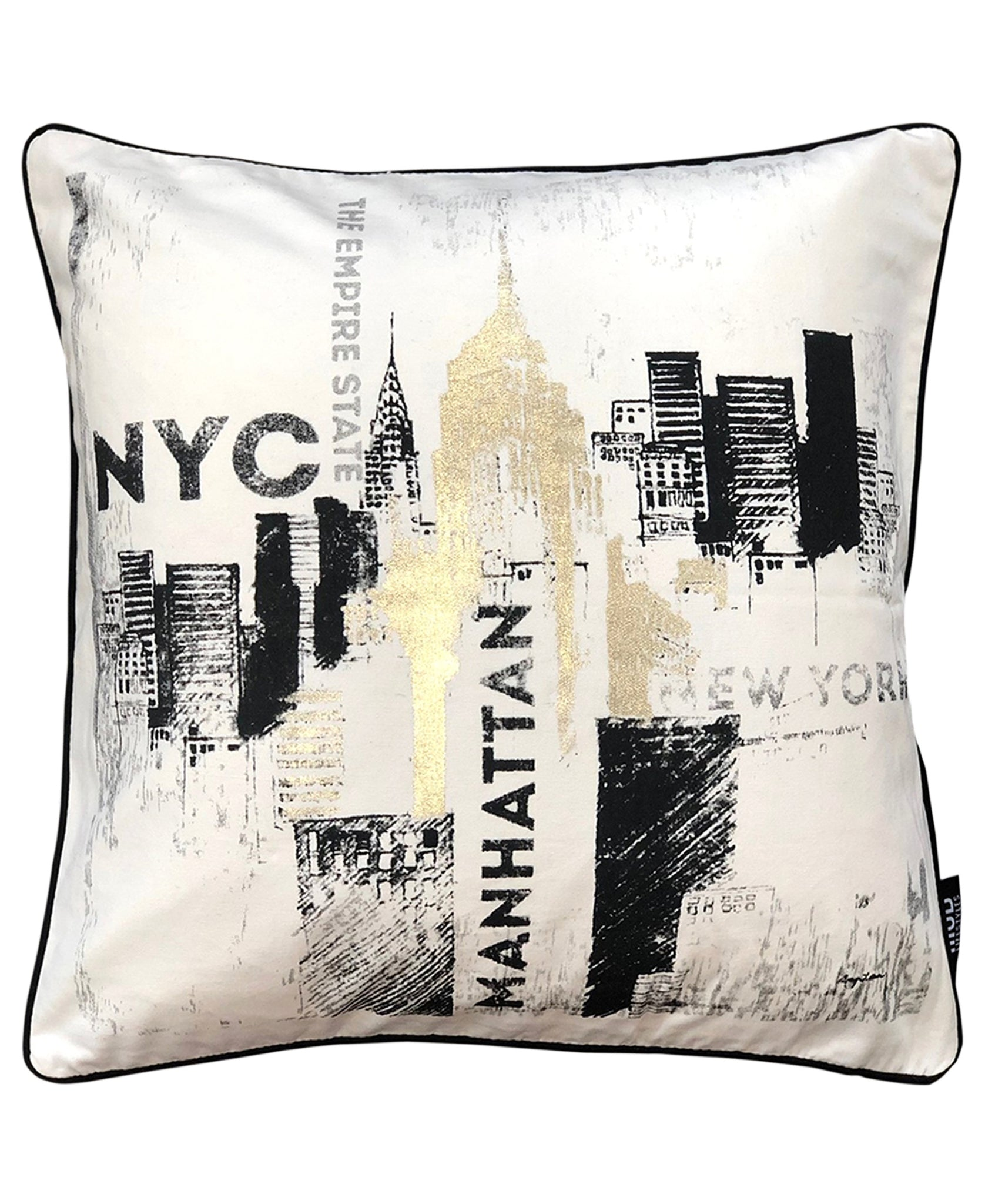 "NYC Print Metallic Decorative Pillow, 20"" X 20"""