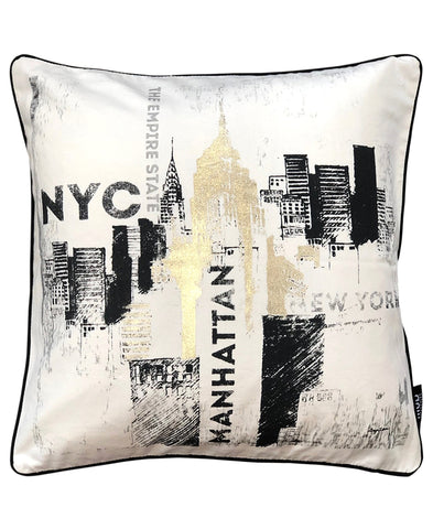 "NYC Print Metallic Decorative Pillow, 20"" X 20"" Mod Lifestyles"