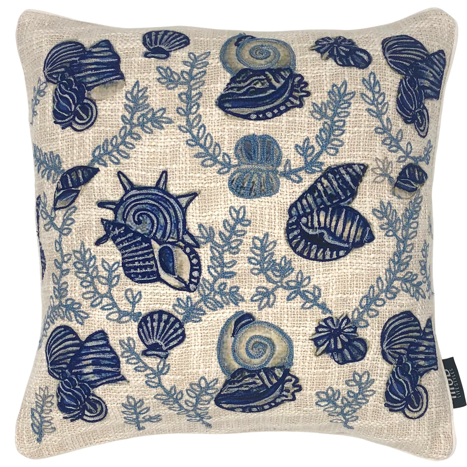 "Blue Natural Seashell Embroidery Decorative Pillow, 20"" X 20"""