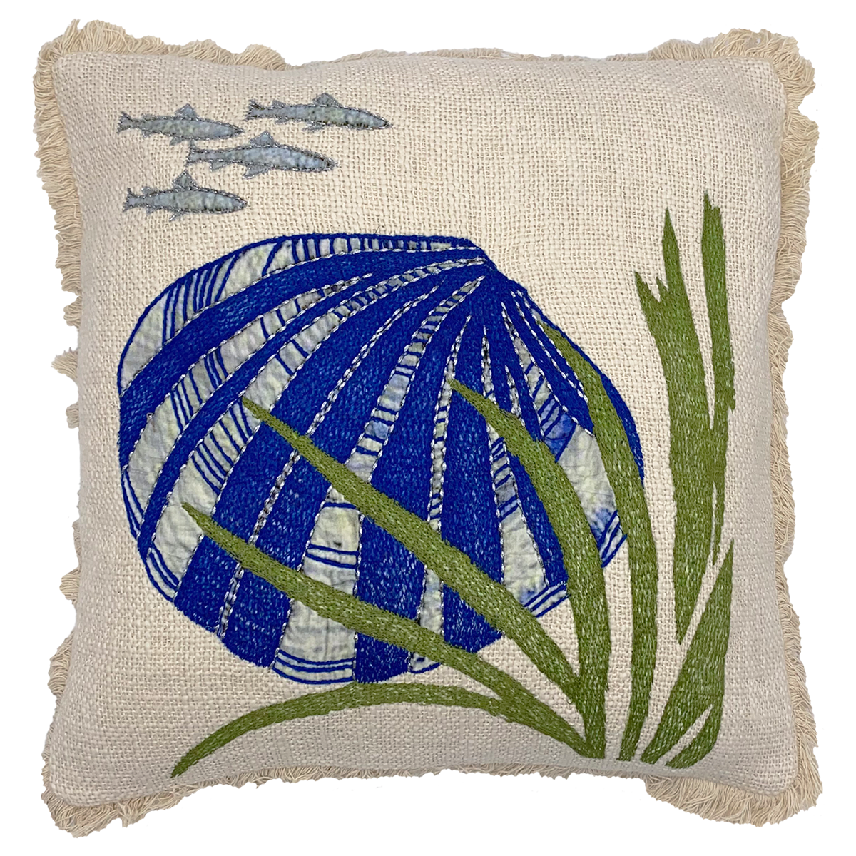"18"" X 18"" Blue Shell and Seaweed Embroidery Throw Pillow"