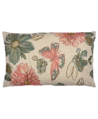 "Spring Butterfly Embroidery Pillow, 14"" X 26"" Mod Lifestyles"