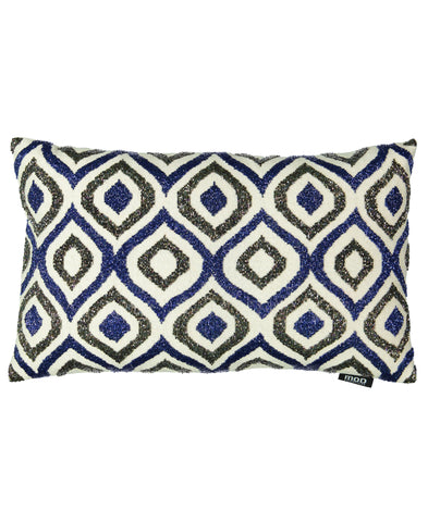 "Blue Ogee Lumbar Beaded Embroidery Decorative Lumbar Pillow, 14"" X 22"""