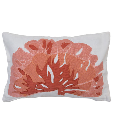 "Oceana Coral Embroidery Decorative Boudoir Pillow, 12"" X 18"""