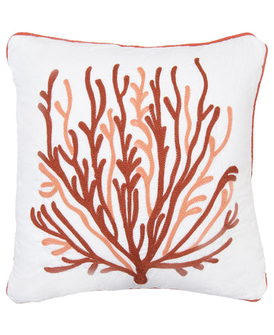 "Oceana Coral Embroidery Decorative Pillow, 18"" X 18"""