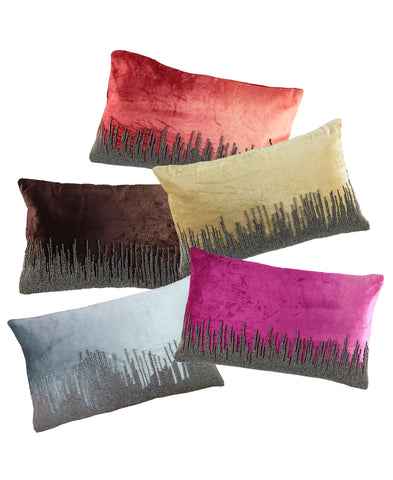 "Skyline Beaded Ombre Velvet Decorative Lumbar Pillow, 13"" X 20"""