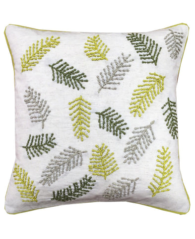 "Manila Leaves Embroidery Decorative Pillow, 18"" X 18"""