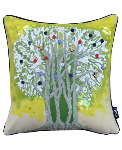 "Tree of Life Embroidery Decorative Pillow, 18"" X 18"""