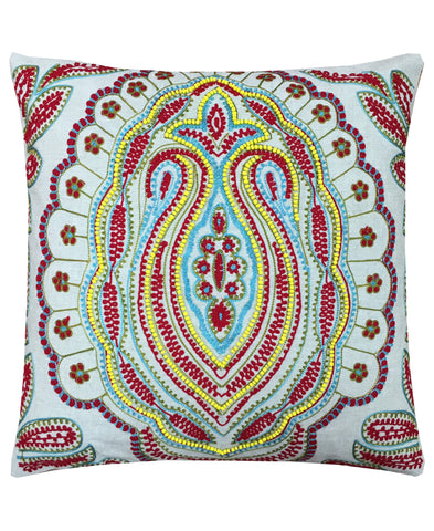 "Cotton Zocalo Embroidery Decorative Pillow, 14"" X 14"""
