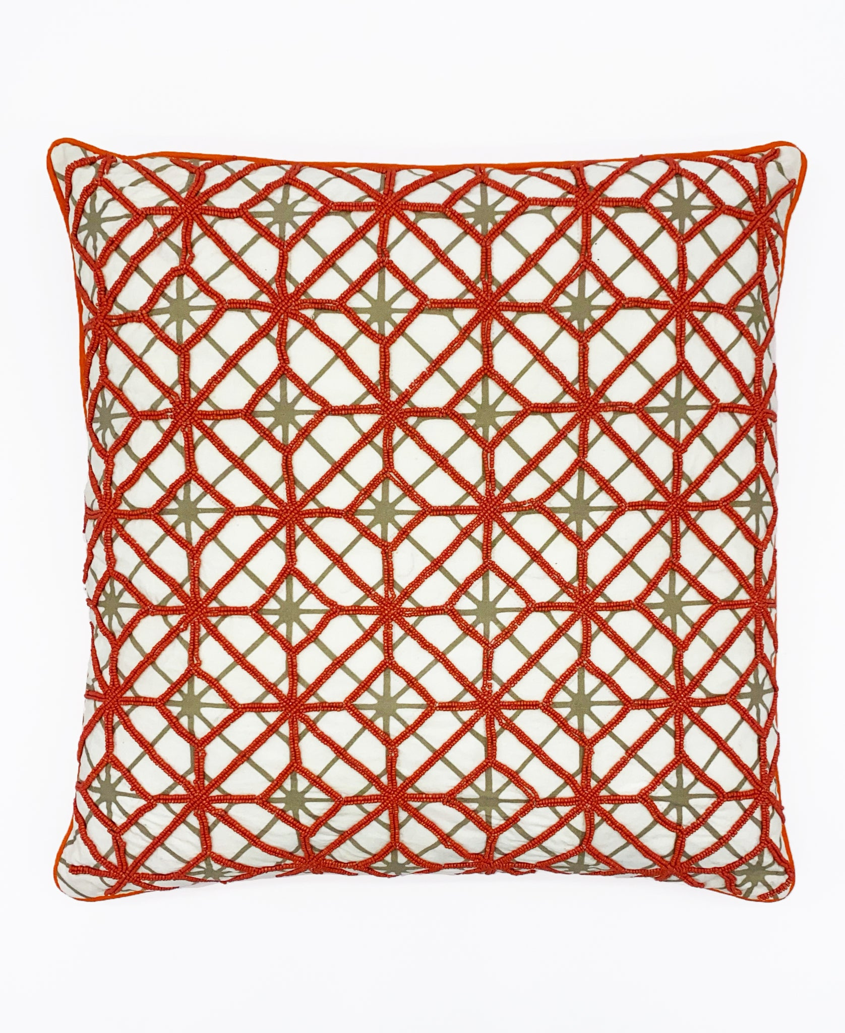 "Orange Abstract Geometric Embroidery Decorative Pillow, 18"" X 18"" Mod Lifestyles"