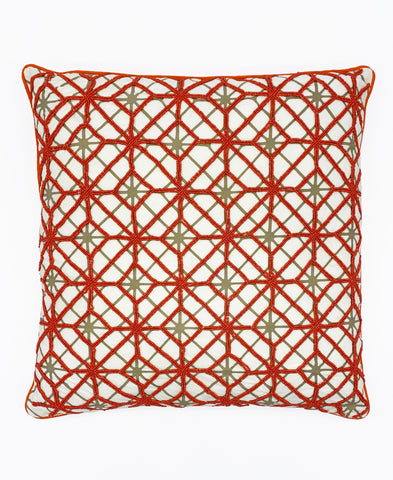 "Orange Abstract Geometric Embroidery Decorative Pillow, 18"" X 18"""