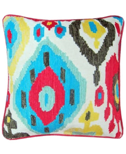 "Inna Ikat Embroidery Decorative Pillow, 18"" X 18"" Mod Lifestyles"