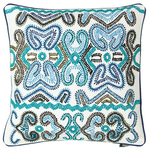 "Blue Southwest Embroidery Decorative Pillow, 20"" X 20"""