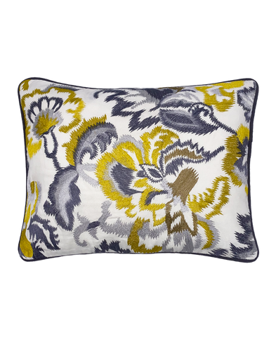Gold Lily Embroidered Lumbar Pillow Mod Lifestyles
