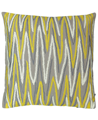 "Gray and Gold Chevron Embroidery Decorative Pillow, 20"" X 20"""