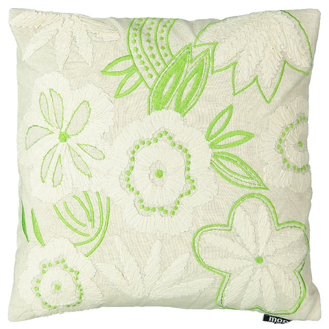 "Natural Daisy Applique Decorative Pillow, 20"" X 20"""