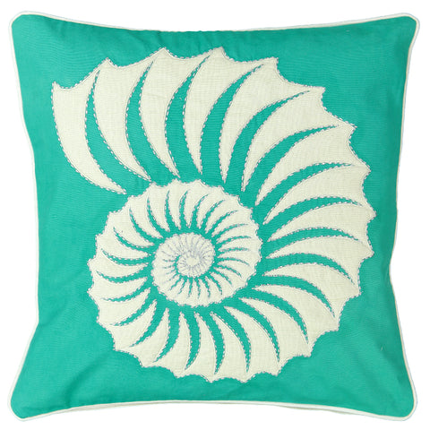 "Quilted Trochus Embroidery Decorative Pillow, 20"" X 20"""