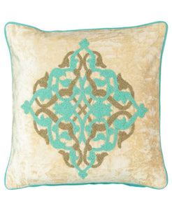 "Medallion Beads Embroidery Velvet Decorative Pillow, 20"" X 20"" Mod Lifestyles"