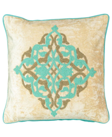 "Medallion Beads Embroidery Velvet Decorative Pillow, 20"" X 20"""