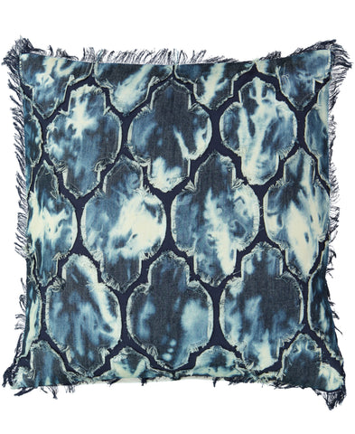 "Navy Applique Tie Dye Decorative Pillow, 20"" X 20"" Mod Lifestyles"