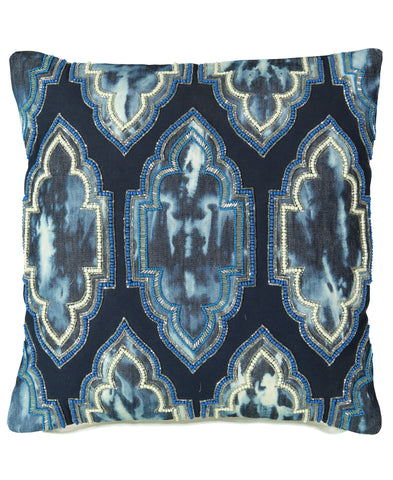 "Navy Moroccan Tie Dye Decorative Pillow, 18"" X 18"" Mod Lifestyles"