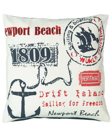 "Newport Beach Print Decorative Pillow, 20"" X 20"""