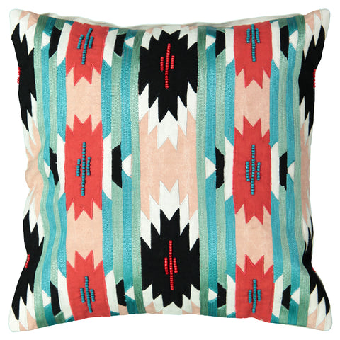"Ikat Embroidery Decorative Pillow, 20"" X 20"""