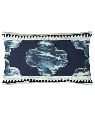 "Navy Marrakech Tie Dye Decorative Lumbar Pillow, 14"" X 22"" Mod Lifestyles"