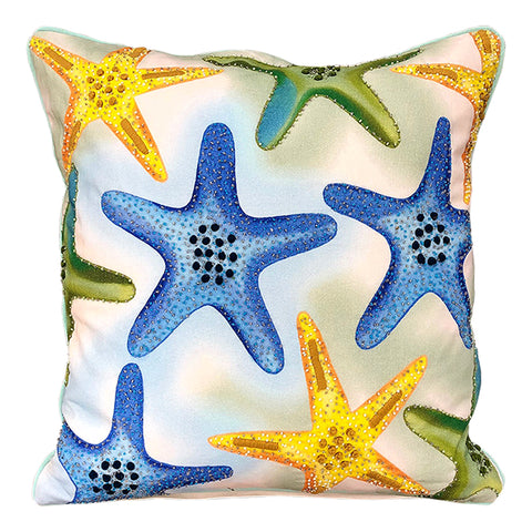 "Multi-colored Allover Starfish Decorative Pillow, 18"" X 18"" Mod Lifestyles"
