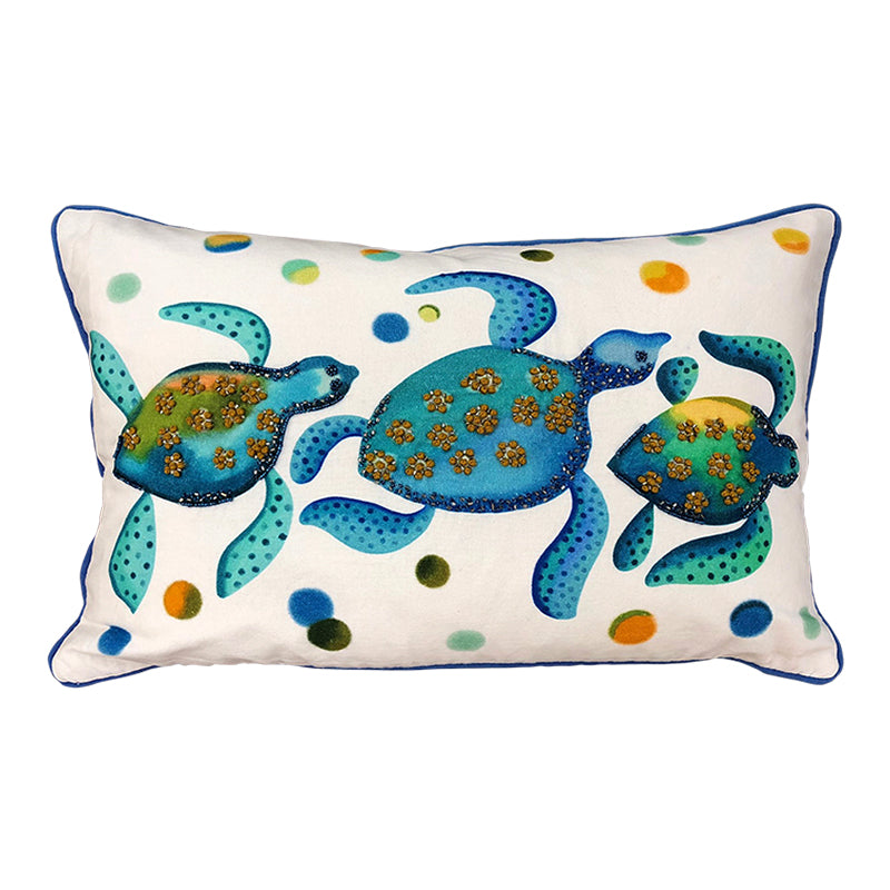 "Sea Turtles Blue and White Decorative Pillow, 14"" X 20"""