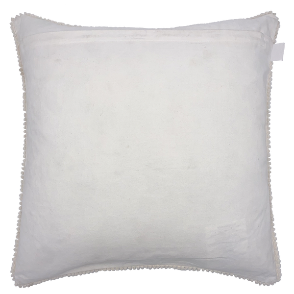 White Daffodils Embroidery Pillow with Fringe, 18''x18''