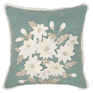 White Daffodils Embroidery Square Pillow