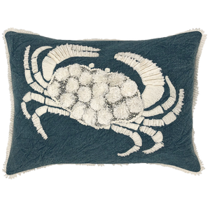 Crab embroidery lumbar pillow