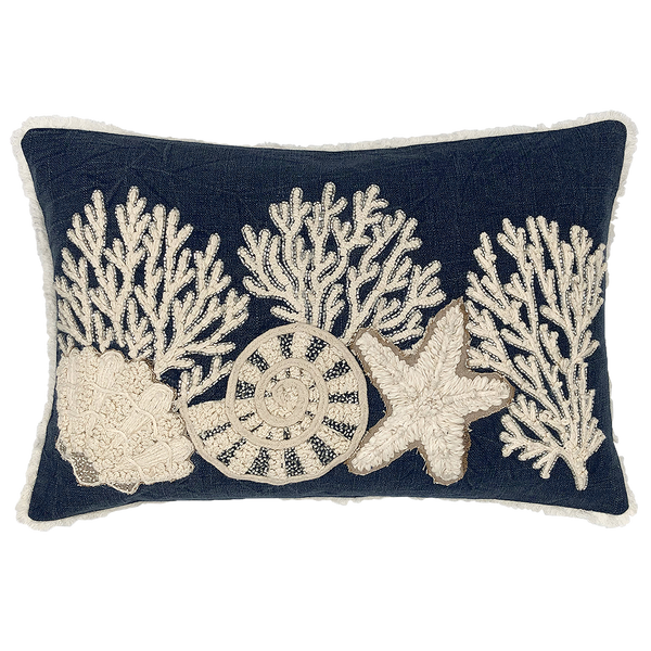Sea Life Embroidery Pillow