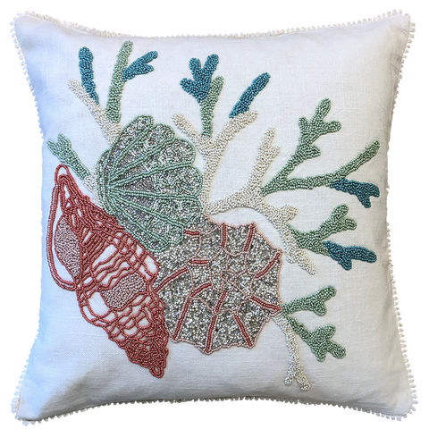 Under the Sea Embroidery Pillow Fringe, 18''x18''