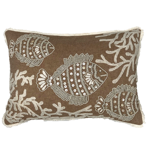 Goldfish beads embroidery pillow